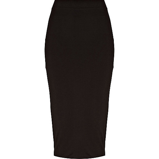 Black double layered pencil skirt