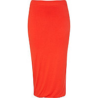 Red double layered pencil skirt