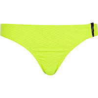 Bleached neon yellow zip side bikini bottoms