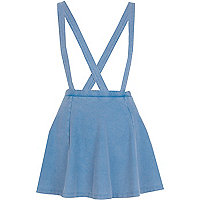 Light acid wash dungaree skater skirt