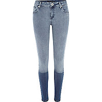 Light wash two-tone Amelie superskinny jeans