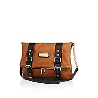 Brown fold over cross body satchel