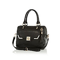 Black croc panel boxy bowler bag