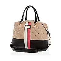Beige quilted contrast panel stud bowler bag