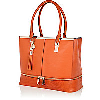 Orange zip base contrast panel tote bag