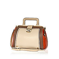 Beige colour block structured doctors bag