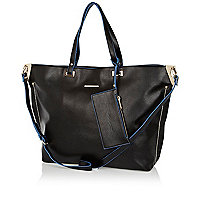 Black contrast trim soft tote bag