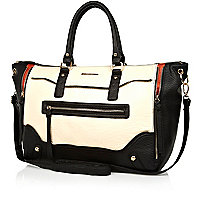 Cream and black colour block holdall