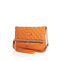 Orange chain trimmed messenger bag
