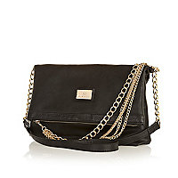 Black chain strap fold over messenger bag