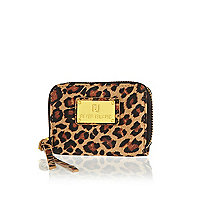 Brown leopard print mini purse