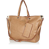Beige contrast trim soft tote bag