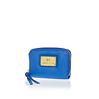 Blue zip around mini purse