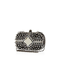 Black stud and chain box clutch bag