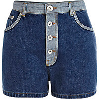 Mid wash two tone high waisted denim shorts