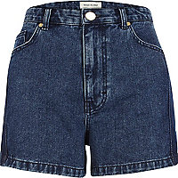 Dark wash high waisted denim shorts