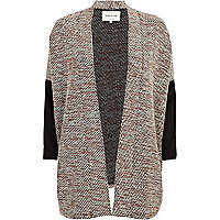 Black boucle colour block oversized jacket