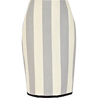 Grey stripe contrast trim pencil skirt