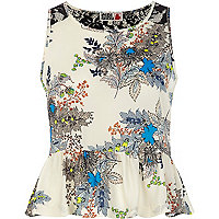 Cream Chelsea Girl oriental print peplum top