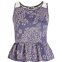 Purple Chelsea Girl floral lace peplum top