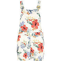 Cream tropical print dungaree shorts