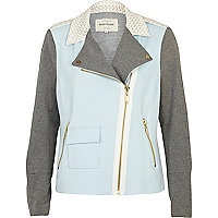 Light blue colour block biker jacket