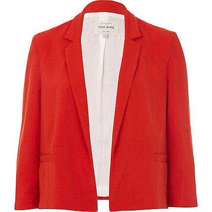 Red 3/4 sleeve boxy blazer