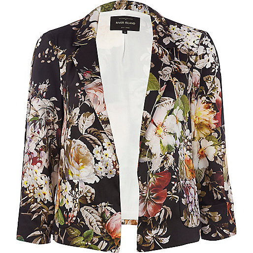 Black floral print 3/4 sleeve boxy blazer