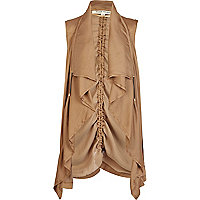 Gold lightweight waterfall gilet