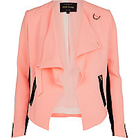 Pink buckled waterfall biker jacket