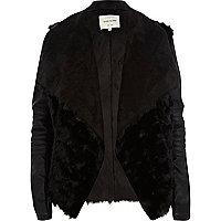 Black shearling panel waterfall biker jacket