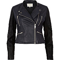 Navy two-tone quilted biker jacket
