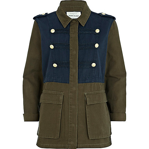 Khaki two-tone denim military jacket