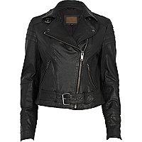 Black leather belted biker jacket