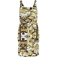 Green camo dungaree strap parachute dress