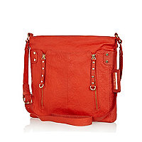 Orange tumbled leather messenger bag