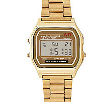 Gold tone digital bracelet watch
