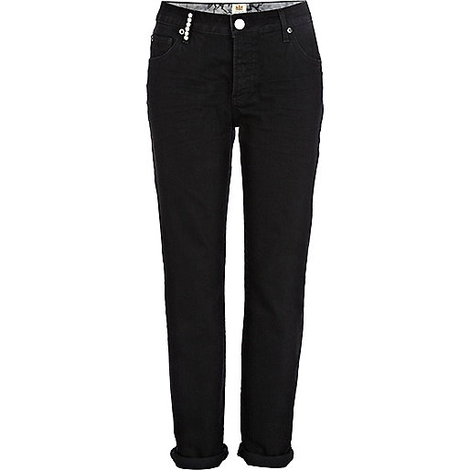 Black Lexie slim boyfriend jeans