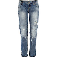 Mid wash distressed slouch jeans
