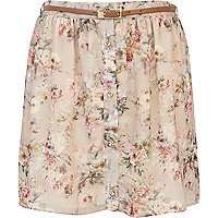 Beige floral print button through mini skirt