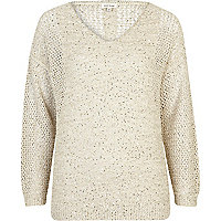 Beige mesh sequin embellished jumper