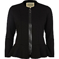 Black textured peplum jacket