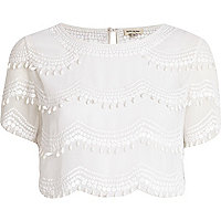 White scallop embellished crop top