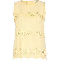 Yellow lace insert shell top