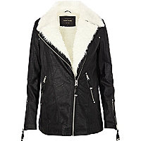 Black shearling lined longline biker jacket