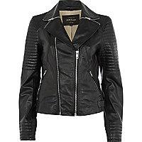Black zip collar leather biker jacket