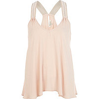 Light pink embellished strap swing cami top
