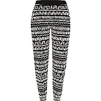 Black tribal print joggers