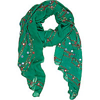 Green mirror embellished lightweight scarf