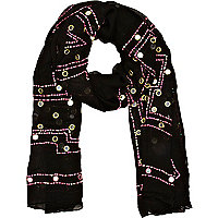 Black mirror embellished lightweight scarf